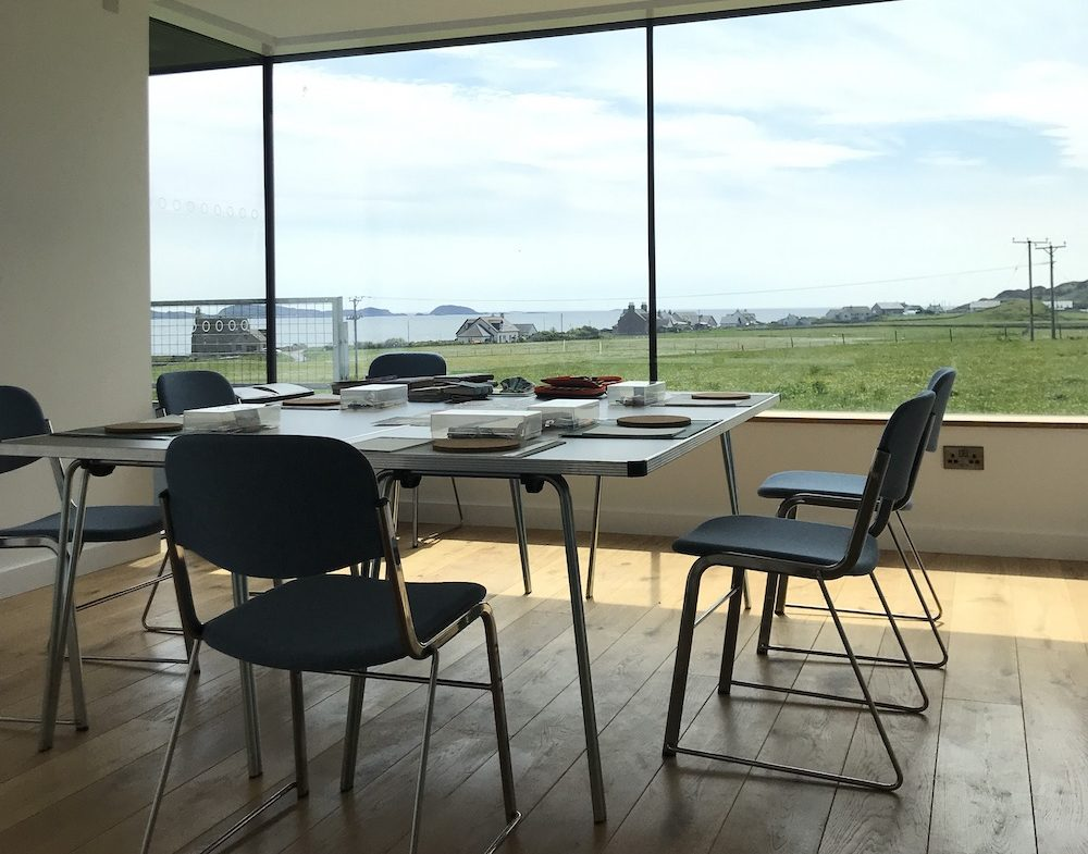 Workshop space on Iona for bookbinding classes